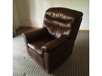 Two brown, leather, electric + battery, reclining armchairs