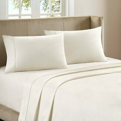 - 4 PCs Sheet Set 100% Cotton 800 TC Twin Size Ivory Solid BD Pkt Drop 18''