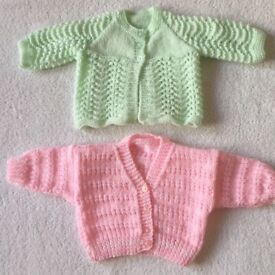 Baby Girl Hand Knitted Cardigans 0 - 3 Months