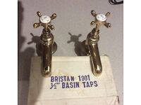 Victorian gold plated bath and basin taps