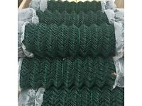 Green plastic coated chain link fencing