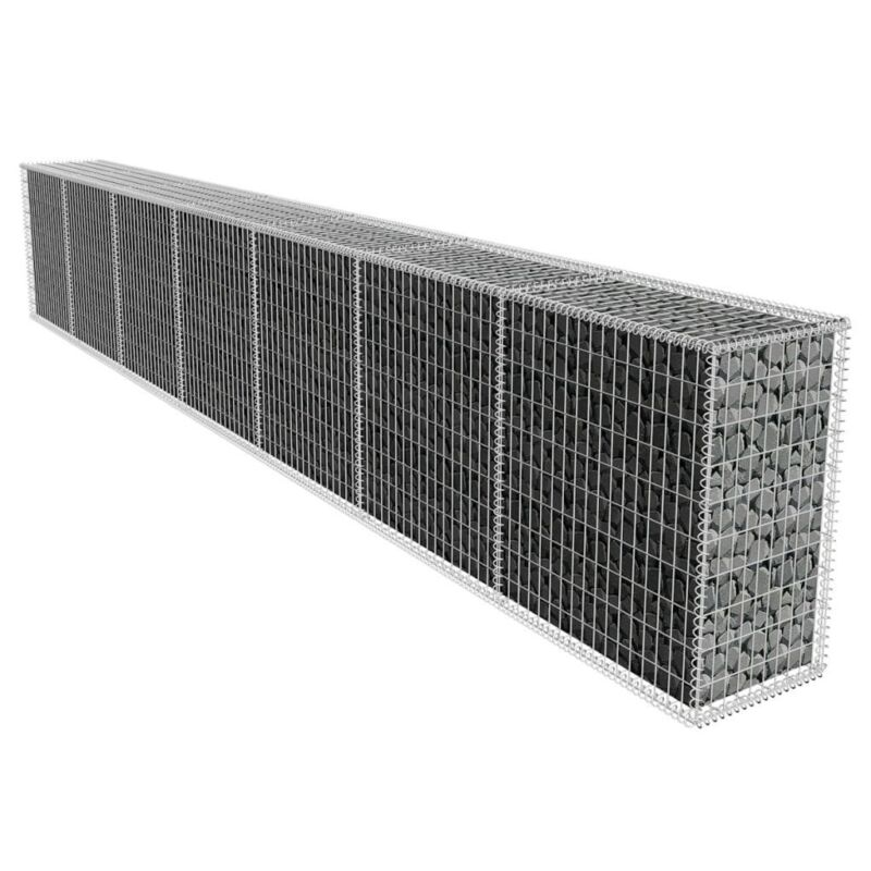 Gabion Stones Wall Cage Basket Fence with Cover Home Business Garden Landscape
