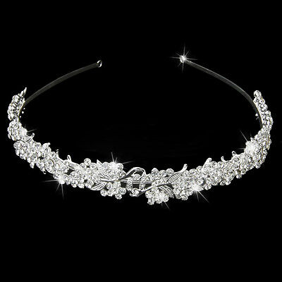 NEW Silver Wedding Bridal Tiara Rhinestone Flower Crystal Crown Pageant Headband (Flower Headband)