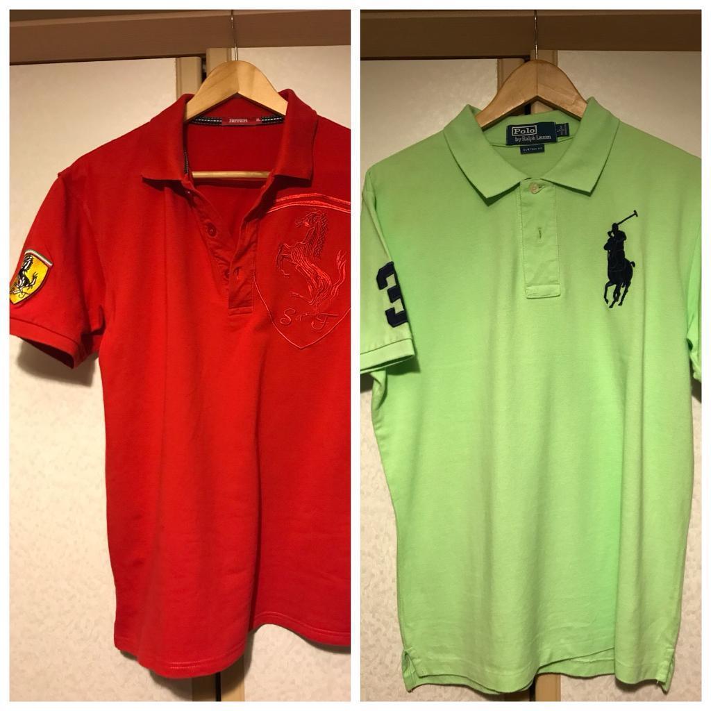 2 X Ralph Lauren Polo Ferrari T Shirt Custom Fit Size Large Casual