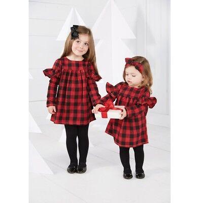 Mud Pie H8 Weihnachten Buffalo Kariertes Kleid - 15000011 Größe Wählen (Mädchen-größe 8 Kleid Weihnachten)