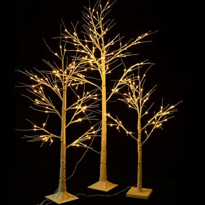 4-6FT LED Birch Tree Lighted In&Outdoor Warm White Christmas Thanksgiving Decor ()