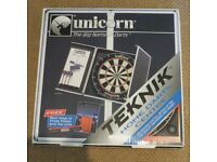 Dart Board- Brand New sturdy with smart modern looking cover; darts included and in packaging