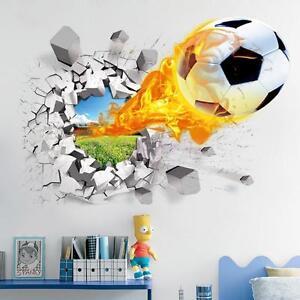 3D Fire Football Soccer Wall Art Sticker Kids Bedroom Mural Wallpaper Decor