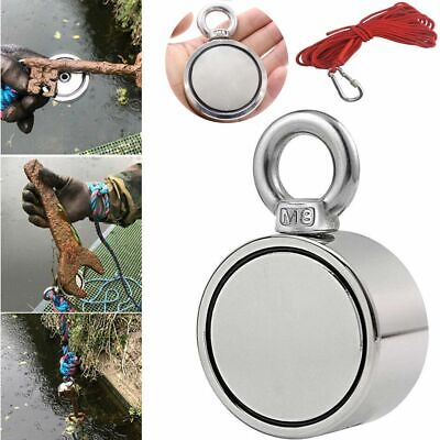 600lbs Pulling Force Fishing Magnet Rope Kit Round Double Sided Strong Neodymium