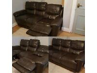 Three seater leather SOFA (electric recliner)