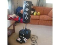 Freestanding punchbag with gloves and skipping rope