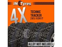 4x 265/65r17 Technic Tracker Mud Terrain MT 265 65 17 Retread Kingpin x4 Tyres