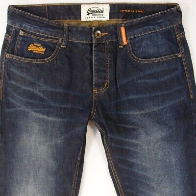 Mens SuperDry COPPERFILL LOOSE Relaxed Blue Jeans W34 L32