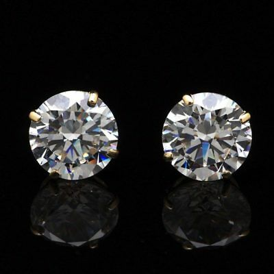 59cfcf9ac 14K Yellow Gold 4Ct Created Diamond Round Stud Screw Back Earrings 8mm