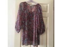 Chiffon tunic, size 22 beautiful floaty fabric from M&S, 3/4 sleeves, unworn.