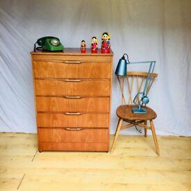 Vintage mid century teak large Talboy chest of drawers
