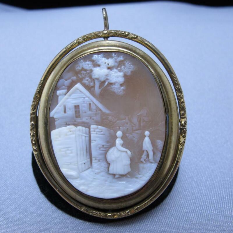 Vintage Gold Filled Homestead Scene Cameo Mourning Pin Brooch Locket #J619