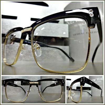 Mens CLASSIC VINTAGE RETRO Style Clear Lens EYE GLASSES Black Gold Fashion Frame