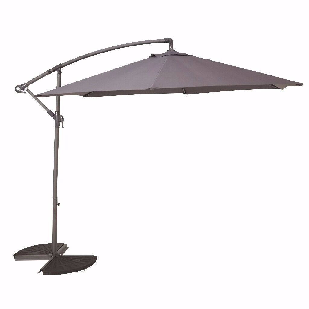 Grey Cantilever Parasol Part - 21: Bu0026Q Malta Anthracite Grey Overhanging/Cantilever Parasol 3 Metre (Almost ...