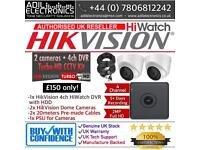 Hikvision 2 Cameras HiWatch Turbo-HD Full CCTV Kit: 4CH DVR & 2x Full HD 1080P 2MP Dome Cameras