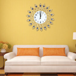 Modern Wall Clock Peacock Crystal Diamond Clock for Living Room Home Decor