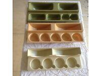 Vintage caravan cupboard storage insert racks for cups/plates/glasses
