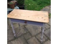 Painted pine table with single drawer