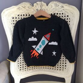 M&S knitted rocket design jumper age 18-24 months