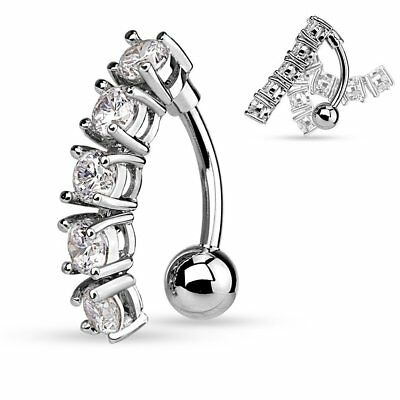 Surgical Steel Navel Belly Button Ring: 5 Link Cubic Zirconia Vertical Drop