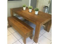 Oak dining table with 2 matching oak benches