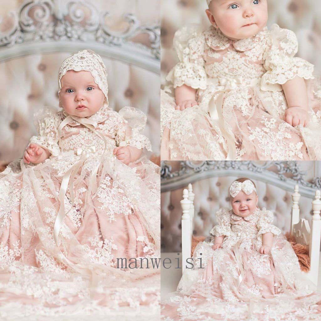 Luxury Pink Baby Girl Christening Short Sleeve Lace Baptism Custom ...