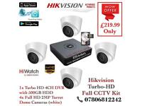 Hikvision HiWatch CCTV Kit, 4CH Hikvision Turbo-HD Cube DVR 500GB, 4x Hikvison 1080P Dome Cameras