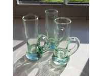 trio of small recycled glasses - would make attractive bud vases, perfect condition
