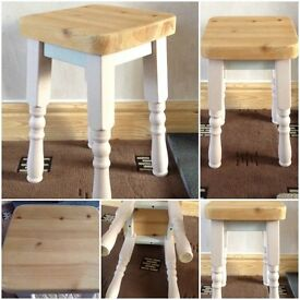 "PINE SHABBY CHIC BUFFET 17"" HIGH SOLID PINE STOOL/BUFFET £15.00 (28)"