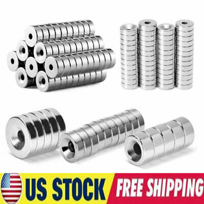 Lot N35 Ring Round Disc Super Strong Magnets Rare Earth Neodymium With 5mm Hole