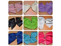 10 x Large hair bows - with diamonte - mixed colours