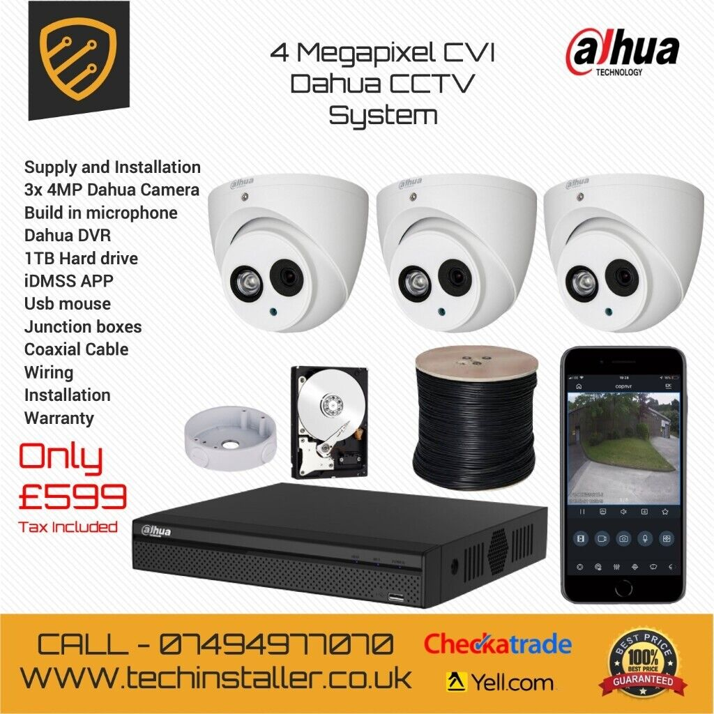 3x 4MP Dahua CCTV Supply And Installation West London | in Northolt, London  | Gumtree