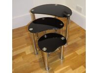 Nest of 3 Modern Glossy Black Glass / Silver side coffee occasional tables