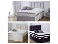 "CASH ON DELIVERY*** CRUSHED VELVET BEDS WITH 10"" MEMORY ORTHOPAEDIC MATTRESS"