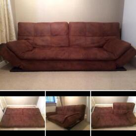 £35 brown soft worn leather look modern sofa bed