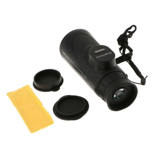 10X50 Waterproof High Powered Monocular Hiking Telescope with Pouch Black
