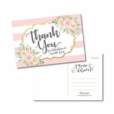 25 Girl Baby Shower Thank You Note Card Bulk Set, Floral Pink and Gold Blank... ()