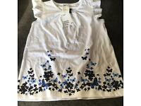 Girls White Print H&M T Shirt New With Tag