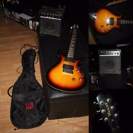 WESLEY ELECTRIC GUITAR WITH AMP AND CARRYING BAG