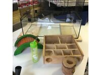 Cage for hamster or small rodent with accessories used