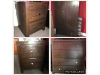 Mahogany wood bedroom furniture, wardrobe, chest of drawers and 2 bedside cabinets