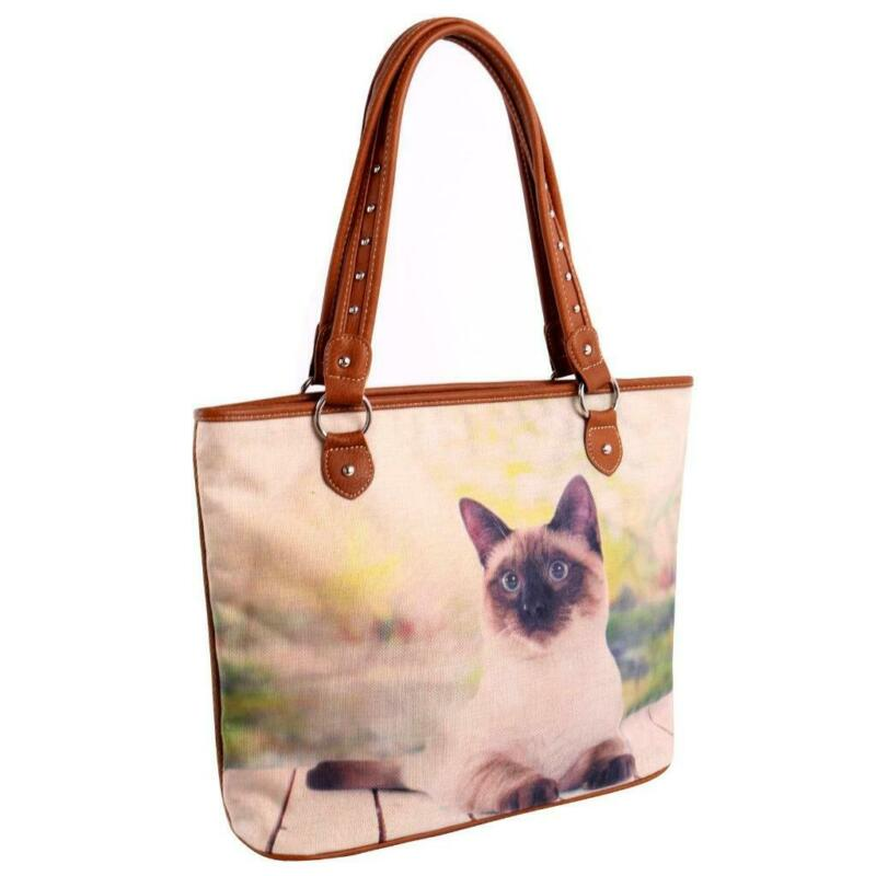 Montana West Printed Striped Canvas Siamese Cat Tote Bag Handbag Purse