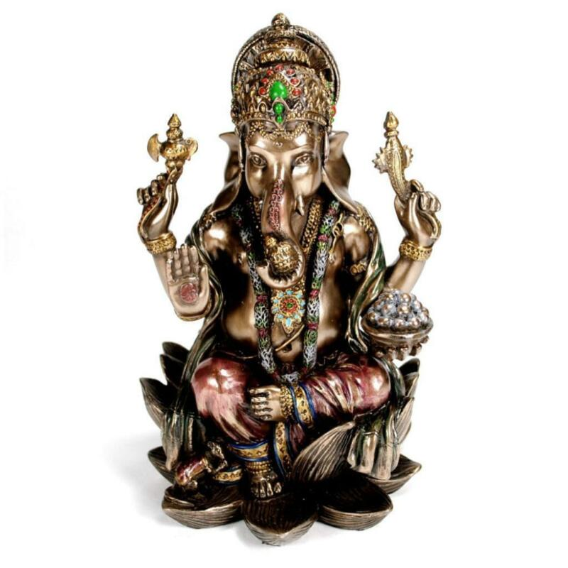 "GANESHA LORD OF SUCCESS STATUE 7"" Hindu Elephant God HIGH QUALITY Bronze Resin"