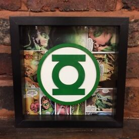 Green Lantern Comic Logo Art Frame - 3D - Custom - Handmade - Christmas gift - oak