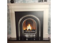 BRAND NEW AGEAN LIMESTONE MANTLE WITH NERO ABSOLUTE GRANITE SET